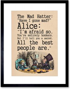 gifts for art lovers: alice in wonderland framed posters